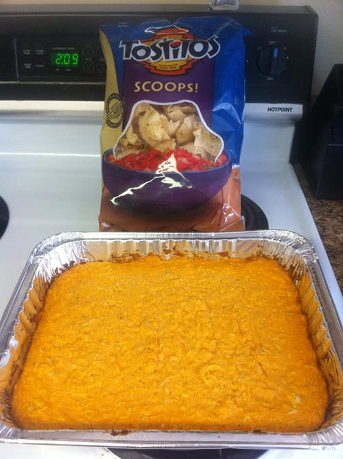 Make Buffalo Chicken Dip With An Oven Safe Foil Container